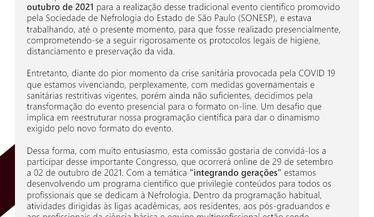 A pedido da Sonesp (regional São Paulo), a SBN vem divulgar o comunicado abaixo