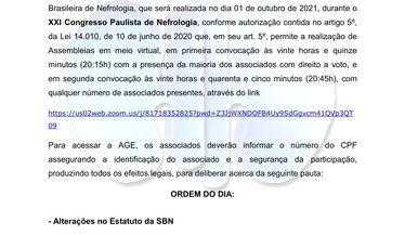 Convocação para Assembleia Geral Extraordinária da SBN e proposta final de alterações em seu estatuto social