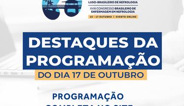 Confira as atividades de destaque do dia 17 de outubro e participe das sessões de temas livres e prestigie os melhores trabalhos do congresso!
